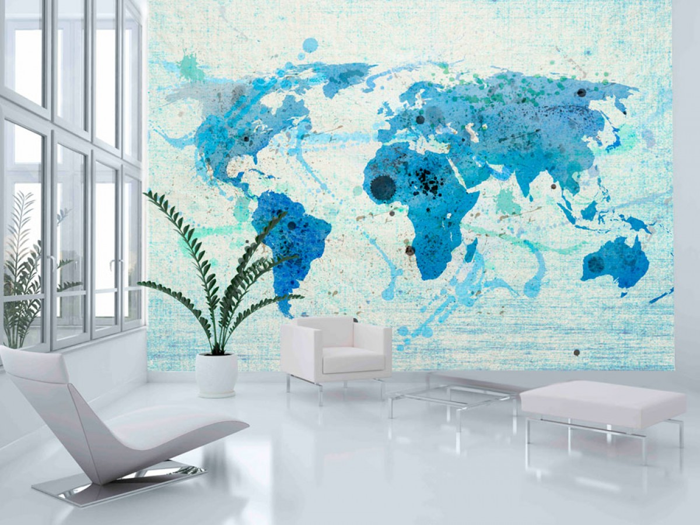 Murando DeLuxe Tapeta Modrá mapa svìta  - zvìtšit obrázek