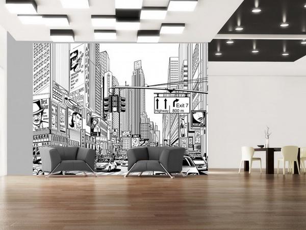 Murando DeLuxe Tapeta New York skica  - zvìtšit obrázek