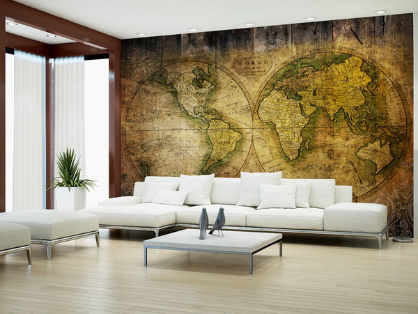 Murando DeLuxe Tapeta Historická mapa svìta  - zvìtšit obrázek