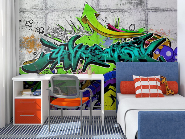Murando DeLuxe Tapeta moderní zelené graffiti  - zvìtšit obrázek