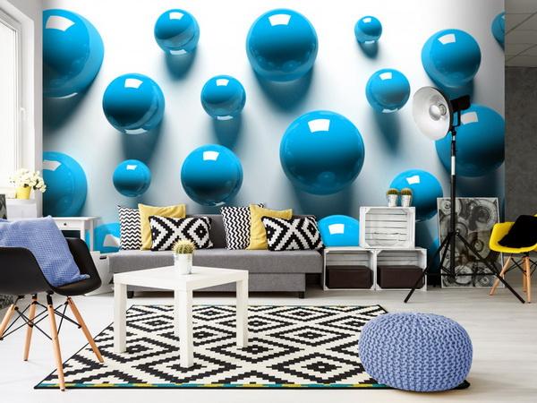 Murando DeLuxe 3D tapeta modré koule  - zvìtšit obrázek
