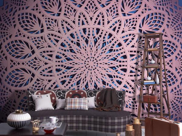 Murando DeLuxe Tapeta mandala - rùžová krajka  - zvìtšit obrázek