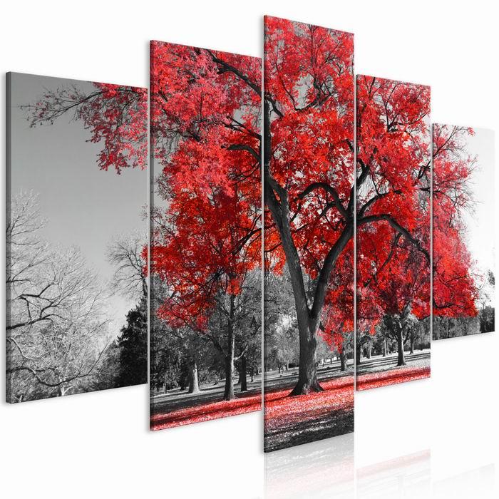 Murando DeLuxe Pìtidílný obraz èervený podzim v parku  - zvìtšit obrázek
