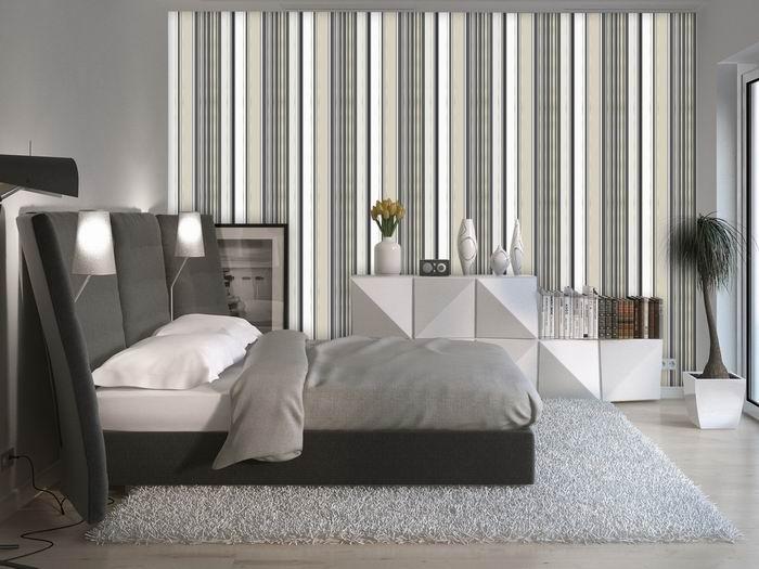 Murando DeLuxe Tapeta Béžovo-šedé pruhy Klasické tapety  50x1000 cm - vliesové - zvìtšit obrázek