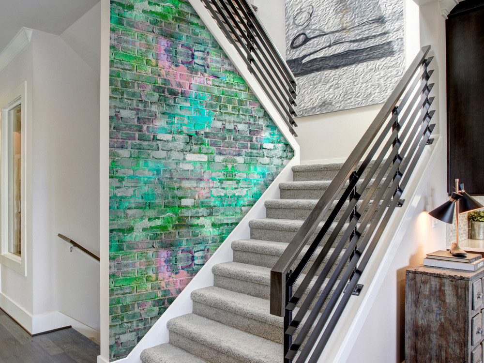 Murando DeLuxe Tapeta neonová cihlová zeï Klasické tapety  49x1000 cm - samolepicí - zvìtšit obrázek