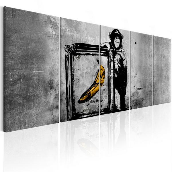 Murando DeLuxe Obraz - opièák s banánem šedý  - zvìtšit obrázek