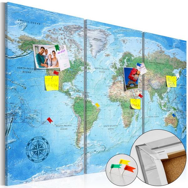 Murando DeLuxe Mapa na korkové tabuli - tradièní mapa svìta  - zvìtšit obrázek