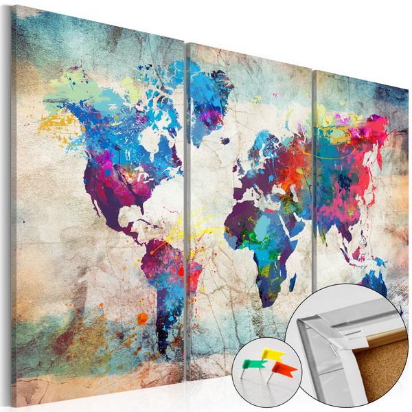 Murando DeLuxe Mapa na korkové tabuli - pokrèené šílenství II  - zvìtšit obrázek