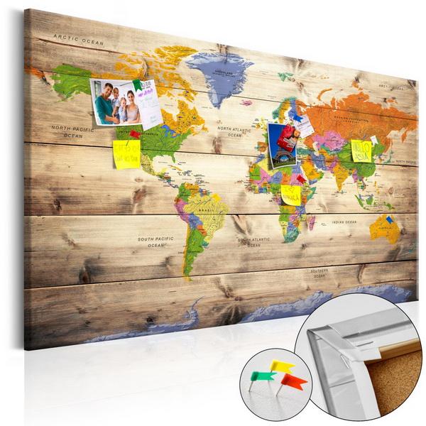 Murando DeLuxe Mapa na korkové tabuli - barevná mapa na døevì  - zvìtšit obrázek