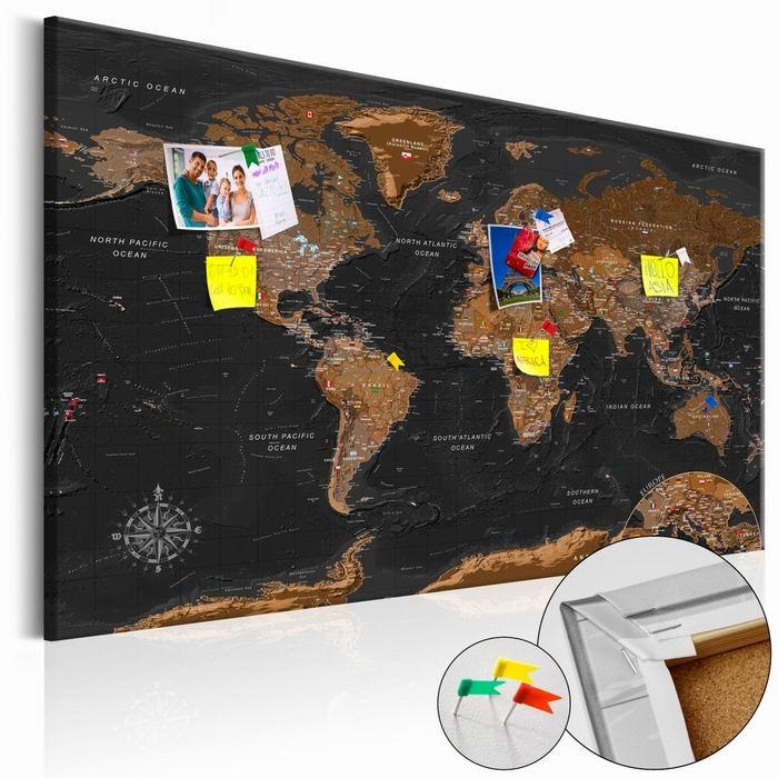 Murando DeLuxe Mapa na korkové tabuli - tmavá  - zvìtšit obrázek