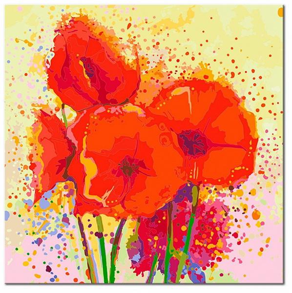Murando DeLuxe Malování obrazu podle èísel 60x60 máky  - zvìtšit obrázek